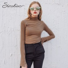 Simshion Turtleneck knitted sweater Women autumn winter casual solid long sleeve thin pullover sweaters Female slim pull femme