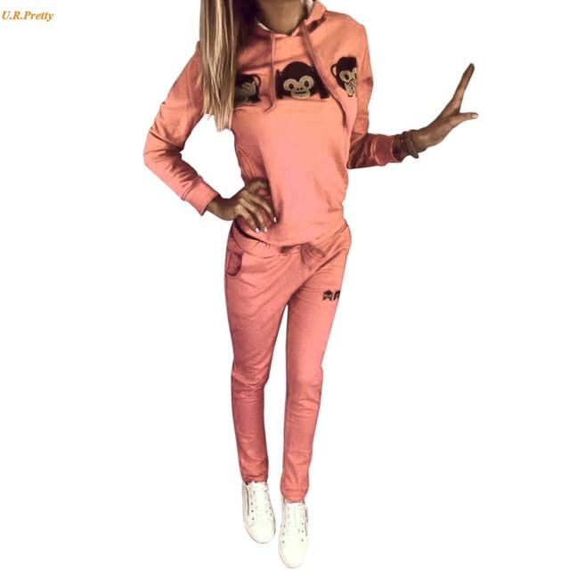 2 pc/Set Primavera Outono Mulheres Treino Macaco 3D Impressão Ocasional Moletom Com Capuz + Calça Sportswear Traje Sportwear