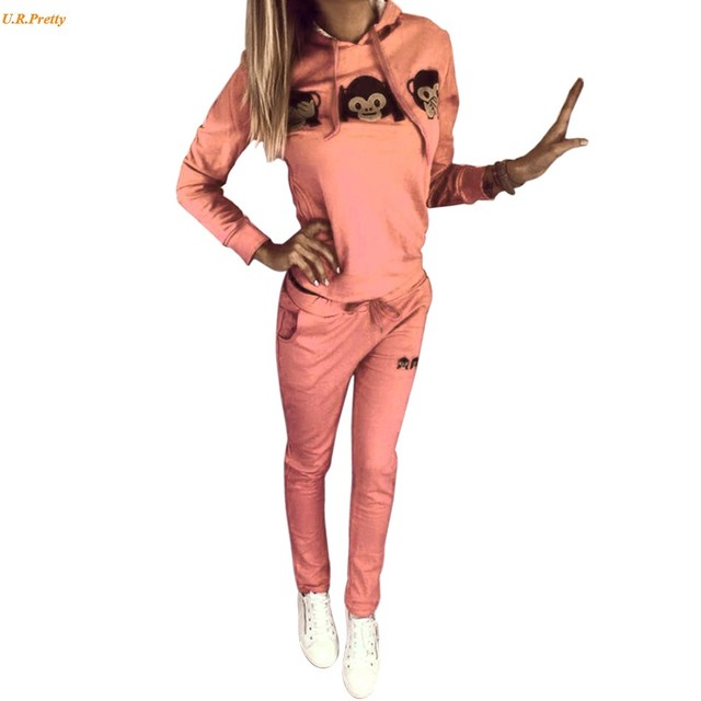 2pc/Set Autumn Spring Tracksuit Women Monkey 3D Print Casual Hooded Sweatshirt +Pant Sportswear Costume Sportwear