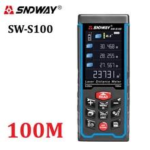 Sndway Высокоточный цифровой лазерный дальномер Цвет дисплей rechargeabel 100 м лазерный дальномер дальнометр рулетка