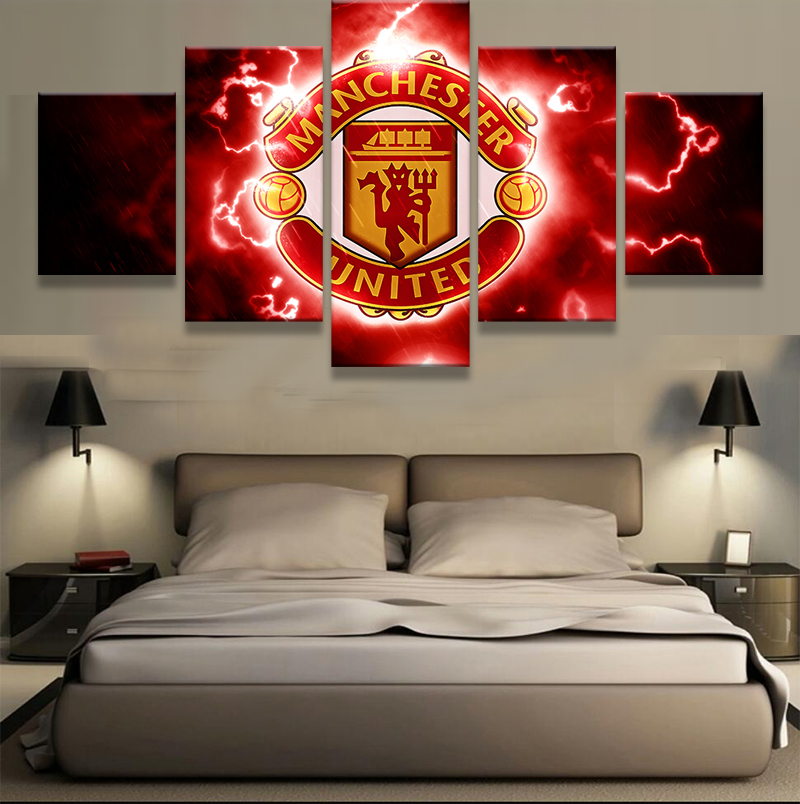 Y818  5 Pieces Set Manchester United Canvas Print   Free Shipping. 5 Pieces Canvas Sport Painting Unique Wall Art Modern Abstract Art
