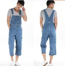 2015 Men's Plus Size Overalls Large Size Huge Denim Bib Pants Fashion Pocket Jumpsuits Male