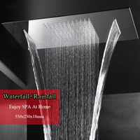 Big Shower Head Rainfall Waterfall Brushed Or Mirror Shower Panel Ceiling Bathroom Fixture Accessories Shower Rose Water Saving