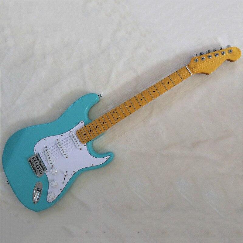 Guitare électrique bleue de Division ST, planche de doigt d'érable de tête d'érable de corps de tilleul
