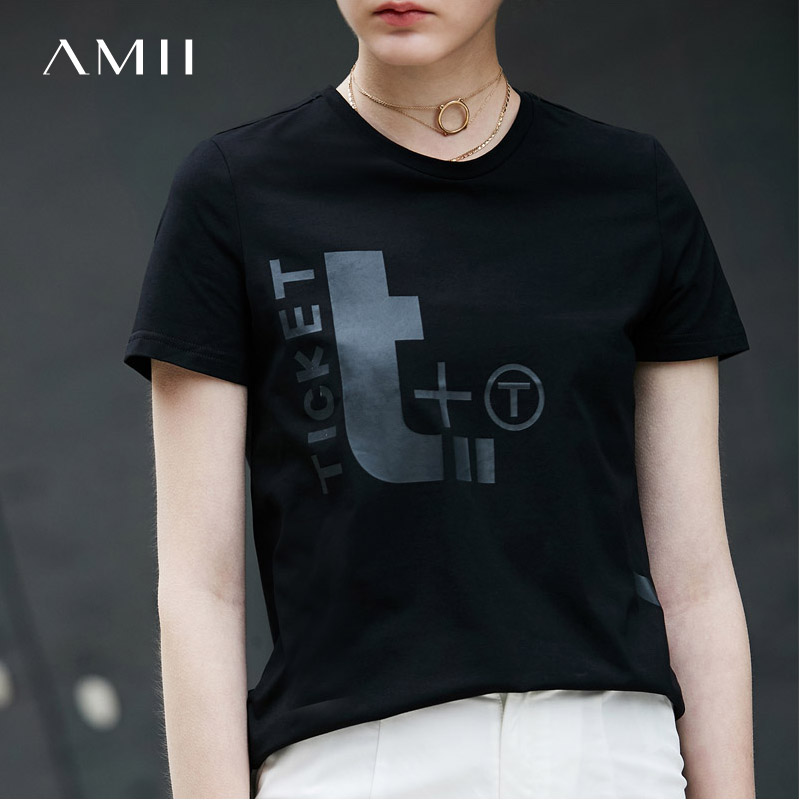 Amii Casual Women Vogue T-Shirts 2018 Summer Loose Print O-Neck Short Sleeve Tees Tops