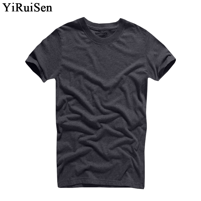 2018 Vente Chaude YiRuiSen Marque 100% coton T-shirt Hommes O-cou À Manches Courtes Solide T Chemises Vêtements D'été Pour Homme