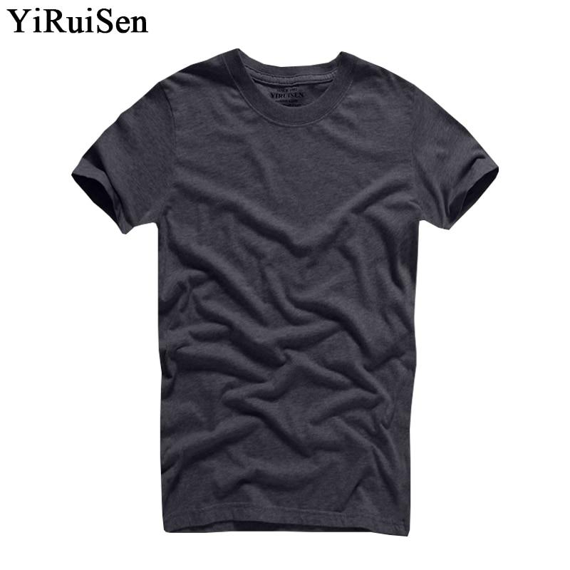 2018 Venta Caliente YiRuiSen Marca 100% algodón Camiseta Hombre O-cuello Manga Corta Sólido Camisetas Ropa de Verano Para Hombre