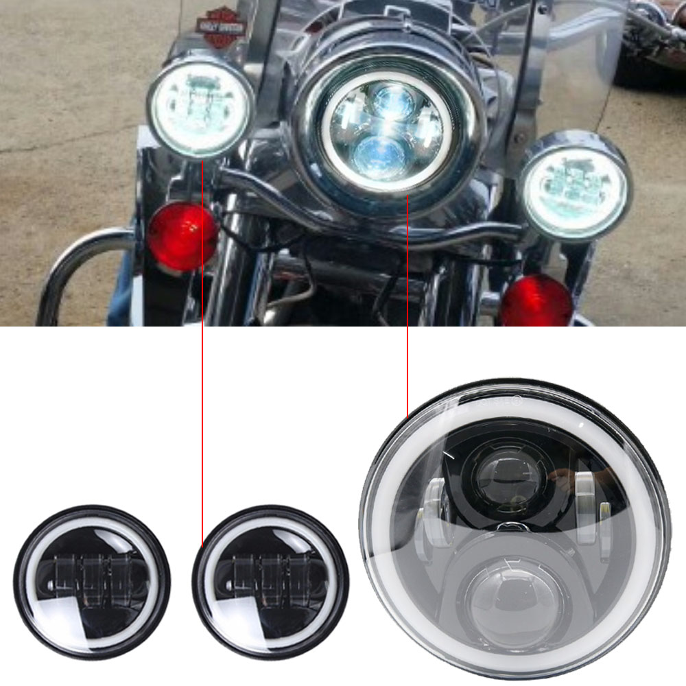 7LED Motorcycle Headlight with Halo Ring & 2x 4.5 30w Fog Light Passing Lamps Mounting Ring for Harley Road King Electra Glide7LED Motorcycle Headlight with Halo Ring & 2x 4.5 30w Fog Light Passing Lamps Mounting Ring for Harley Road King Electra Glide