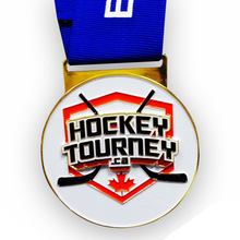 цена на hockey tourney medals cheap custom sports medals with blue ribbons high quality canada hockey sport medals