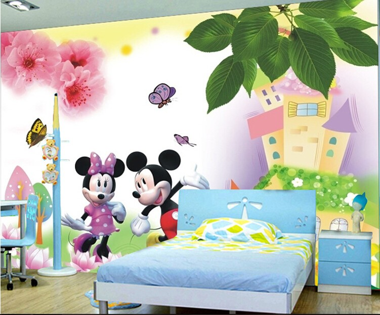 Large mural 3d male girl cartoon bedroom of children room for Child mural wallpaper