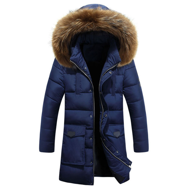 New Arrival 2016 Winter Warm Long Down Jacket Men's New Hooded Down Jacket Thick Warm Coat Fur Collar WN 115