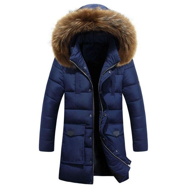 Nova Chegada 2016 Inverno Quente Longo Para Baixo homens Jaqueta Nova Jaqueta Com Capuz Para Baixo Grosso Casaco Quente Gola De Pele WN 115