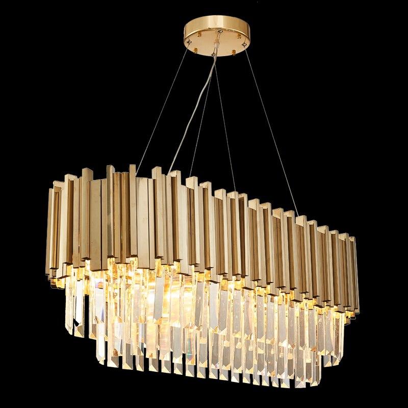 Modern Rectangle LED Crystal Chandelier Lamp For Dining Room Kitchen Island Cristal Lustre Chandeliers Lighting Hanging Fixture