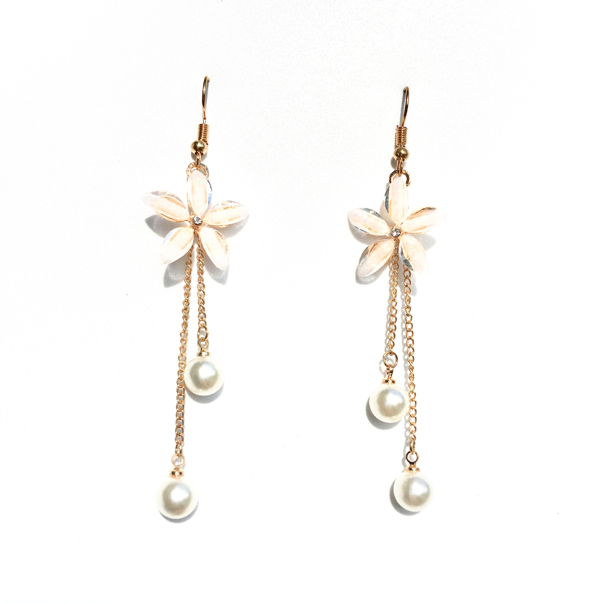 Flower Earrings 2019 Punk Fashion New Earrings Lady Wild Chain Pearl Crystal Flower Earrings Gift Wholesale Ladies Earrings