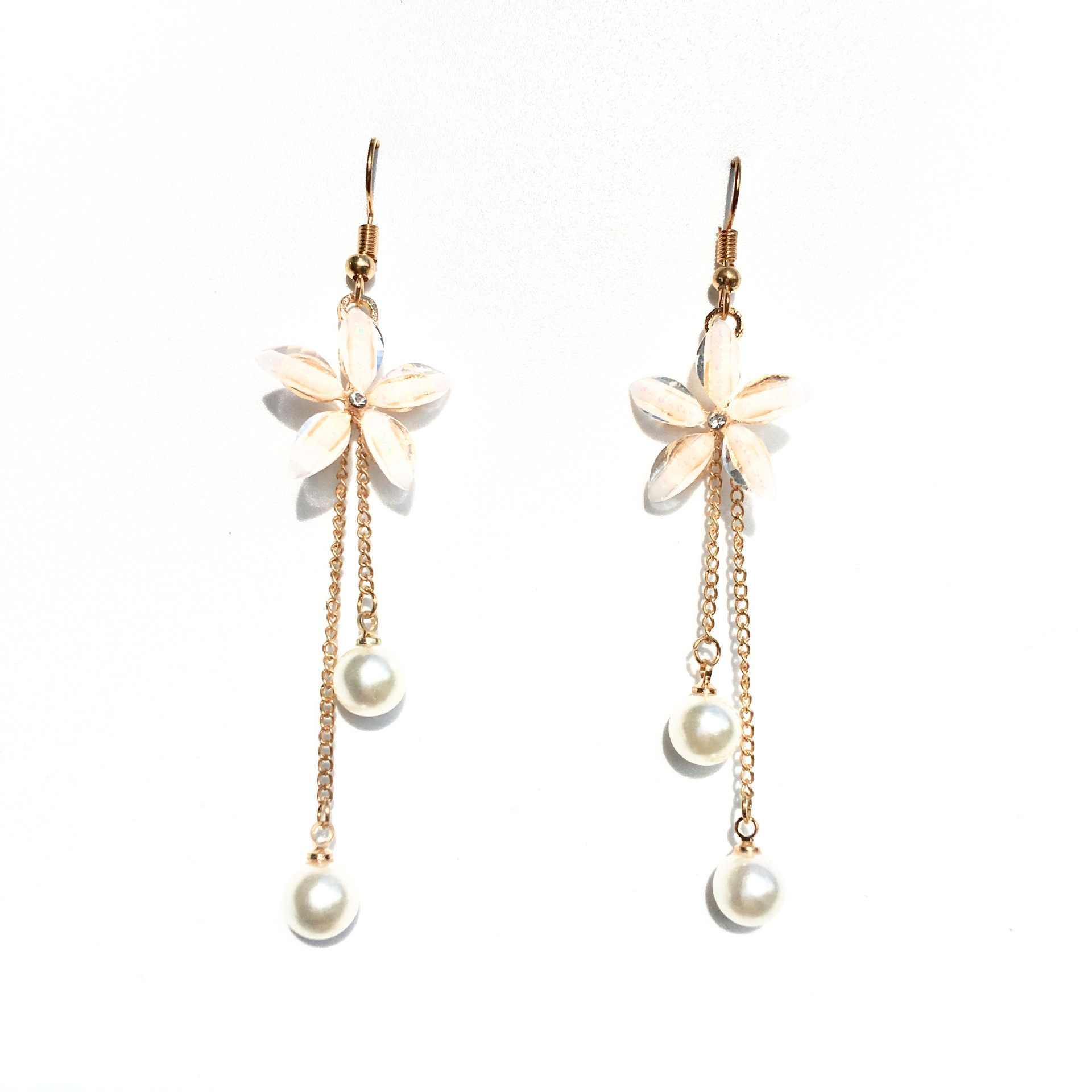 Kolczyki kwiatowe 2019 moda punk nowe kolczyki Lady dziki łańcuszek perła kryształowe kolczyki kwiatowe prezent hurtowych kolczyki damskie