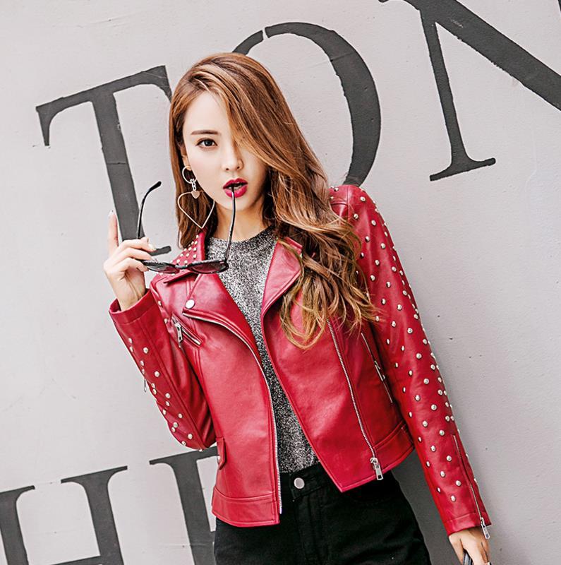Gx1034 Automne Broderie Black Manteaux Nouvelle red Style Cuir 2018 Femelle Rivet Taille Mode Femmes En Streetwear Faux Grande Printemps Vestes white Date fz5wxqUHn