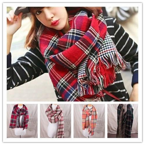 unisex women reversible british style imitation cashmere pashmina plaid tassels   scarf   Tartan Shawl Cozy Winter   Scarves     Wraps