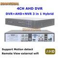 Hot DVR 4 Canais H.264 Detecção De Movimento DVR + AHD + NVR 3 em 1 híbrido Com Visualização Remota Internet P2P PTZ DVR + AHD CCTV Sistema de Segurança
