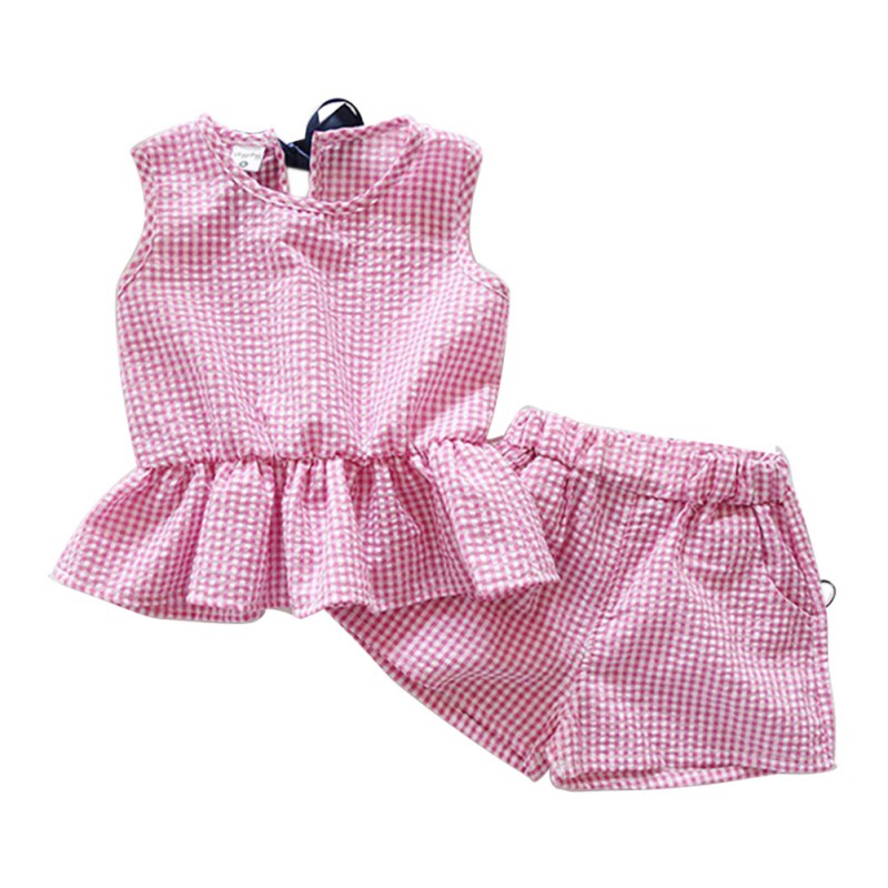 Plaid Baby Girls Clothes Set Cotton Suit Set Clothing Ruffles Vest Sleeveless Shirts + Shorts 2pcs Kids Summer Clothes Suits 2016 summer baby child girls outfits ruffles shorts white striped watermelon boutique ruffles clothes kids matching headband set