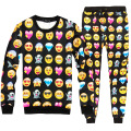 Hot! Men/Women Fashioin 3D Printed QQ Emoji Smiley Face Devil Diamond Sweatshirt And Pants Suit Couple Casual Jogger Pants Tops