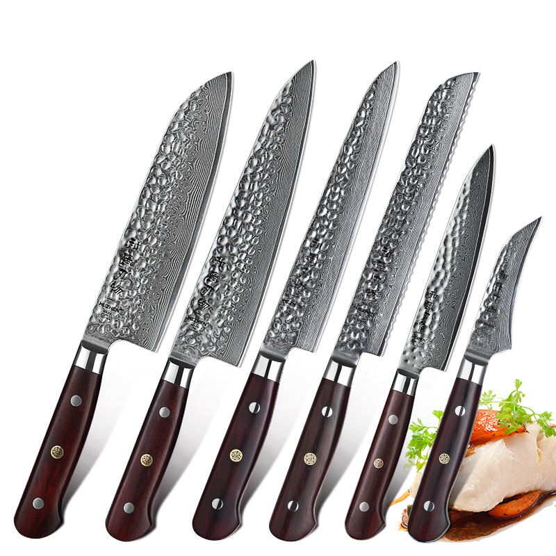 HEZHEN 6 PCS Pro Kitchen Knives Set VG10 Damascus Steel 15 Degree Each Side Japanese Style Cooking Tools Stainless Steel Knife