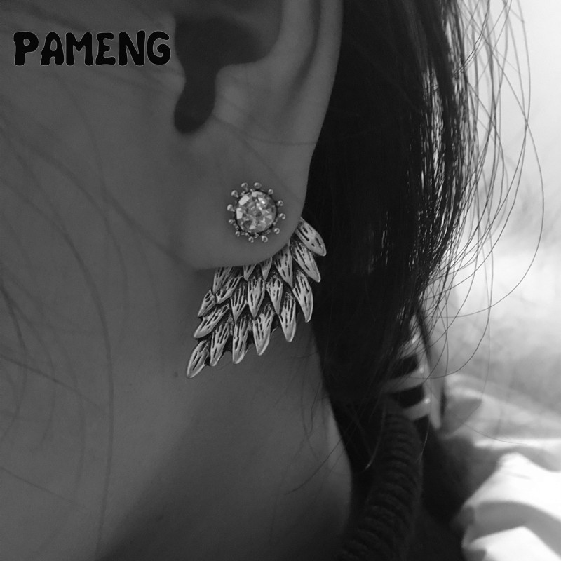 Pameng New Fashion Black Gold Silver Color Gothic Women Cool Jewelry Angel Wings Rhinestone Alloy Stud Earrings Gifts