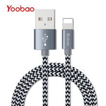Yoobao 422 USB Cable for iPhone 7 6 6s Plus Data Cable 1m Braided Wire Ultra-Compact Connector Head for iPad iPhone(China)