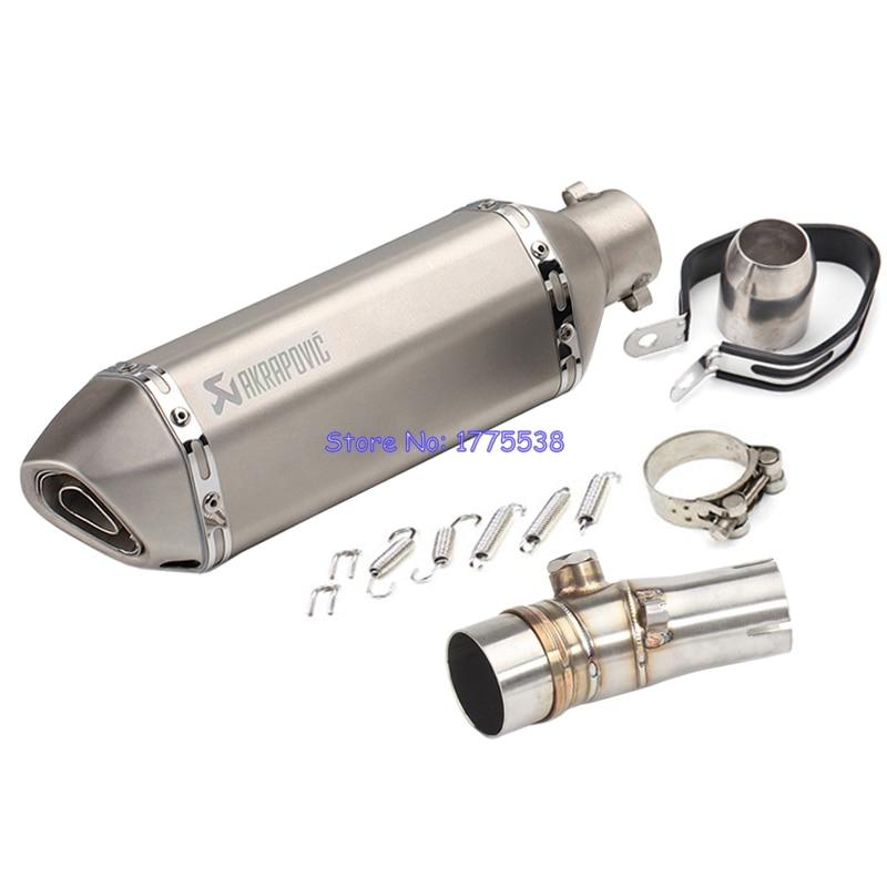 Stainless Steel Motorbike Exhaust Muffler Adapter for ER6N ER6F Motorcycle Muffler Exhaust Escape Damper Carbon Look Exhaust