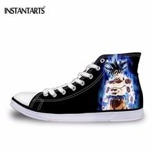 INSTANTARTS Hot Animal Dragon Ball Print High Top Canvas Shoes Men Vulcanize Shoes Cool Super Saiyan Son Gokou Vegeta Shoes Boys