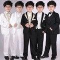 5 unids/set niños juego de la boda para los niños 2-13 años niños chaqueta de manga Larga de color Sólido vestido de trajes trajes para niños 010b