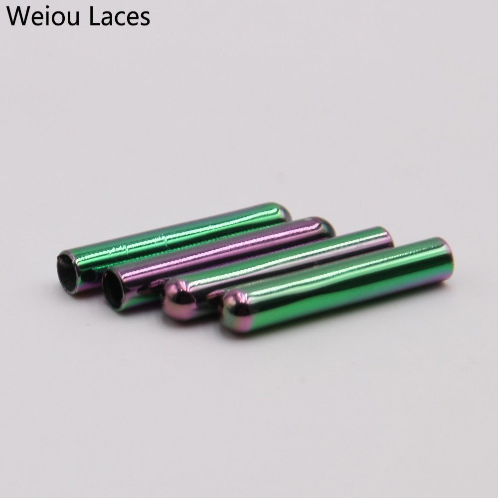 Weiou New 4pcs/lot Women Men Shoe Lace Tips Replacement Head For Shoestrings Colorful Bullet Aglets Accessories For DIY Shoelace