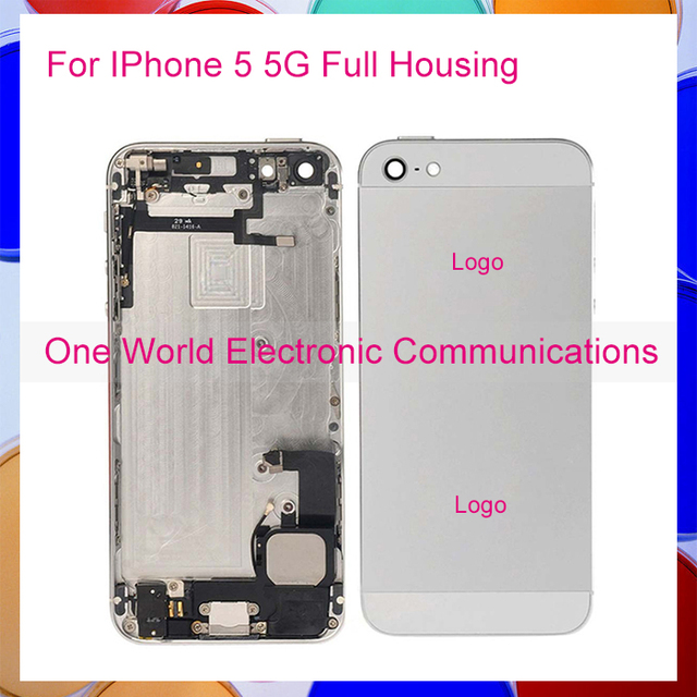 50pcs/lot DHL Black White Gold Rose For Iphone 5 5G Full Middle Frame Housing Battery Door Rear Case Cover Flex Cable Assembly