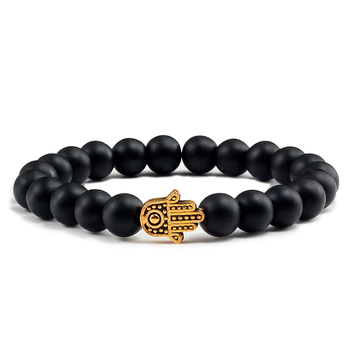 Charms Men Black Lava Matte Beads Natural Volcanic Stone Bracelets Bangles Women Yoga Prayer Jewelry Gold Sliver Hand Bracelet 1