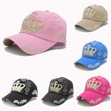Oro Bordado corona gorra de béisbol verano Cap SnapBack gorras para las  mujeres hombres de algodón de señora sombrero verano ht5. 5634fd0f2aa
