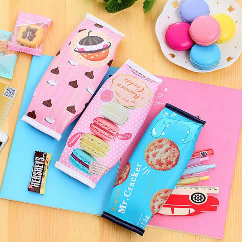 Korean Creative School Pencil Case Cute Pu Leather Pen Bag Kawaii Stationery Pouch Office School Supplies  21*7cm