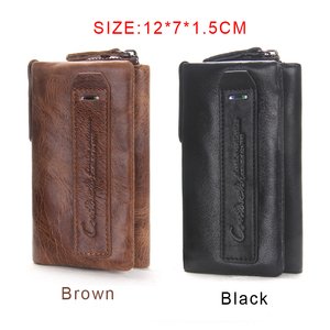 Image 4 - Genuine Cow Leather Mini Key Wallets Brand Trifold Design Zipper Coin Bag Purse With Interior Key Chain Holder Housekeeper Case