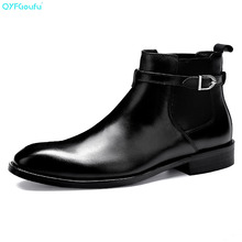 купить QYFCIOUFU Luxury Designer Mens Chelsea Boots Shoe Genuine Leather Dress Boots High Quality Cow Leather Pointy Hasp Ankle Boots дешево