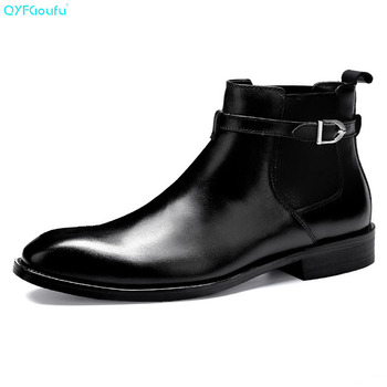 QYFCIOUFU Luxury Designer Mens Chelsea Boots Shoe Genuine Leather Dress Boots High Quality Cow Leather Pointy Hasp Ankle Boots