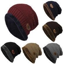 Moda de lana de colores de contraste de punto sombreros de invierno cálido para  hombres y dffa743e832