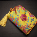 Small Zipper Silk Brocade Jewelry Pouch Gift Packaging Tassel Cotton filled Crystal Stone Bead Bracelet Makeup Storage Bags