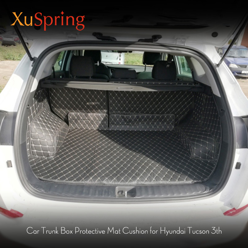 For Hyundai Tucson 2017 2018 2019 3TH Rear Tail Car Trunk Mat Durable Boot Carpets Full Coverage Cover Protective Car Styling