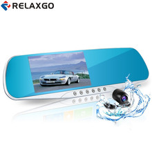 Cheapest prices Relaxgo 4.3″ car rearview mirror dvr dual lens car dvr full hd 1080p video recorder car camera reverse image vehicle dash cam
