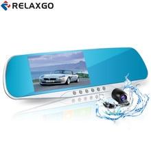 Cheapest prices Relaxgo 4.3″ car rearview mirror dvr dual lens car dvr full hd 1080p video recorder car camera reverse image vehicle dash cam