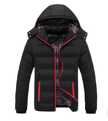 2019 New Winter Coat Men's Cotton-padded Jacket With Cap Slim Outwear Men's Solid Color  Thickened Down Cotton-padded