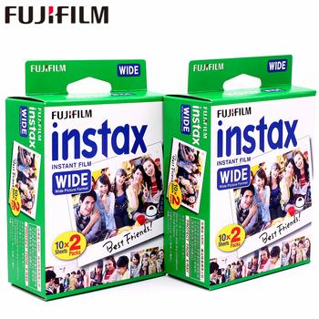 Oryginalna 40 arkuszy Fujifilm Instax szeroka biała krawędź filmu dla Fuji natychmiastowy papier fotograficzny aparat fotograficzny 300 200 210 100 500AF tanie i dobre opinie 40 Instax Wide Film Natychmiastowa Film Films