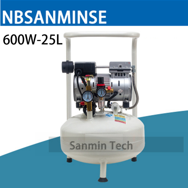 600W - 25L S Mini Air Compressor Oilless High Pressure Mute Design Wood Working Home Application AC220V High Quality Sanmin