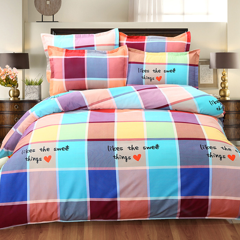 Bear Plaid 4 Pcs Bedding Sets King Queen Double Size Duvet Cover 6 7 Feet 1 8m 2 0m Bed Sheet Pillowcase Bedlinen Set Bedclothes In From Home
