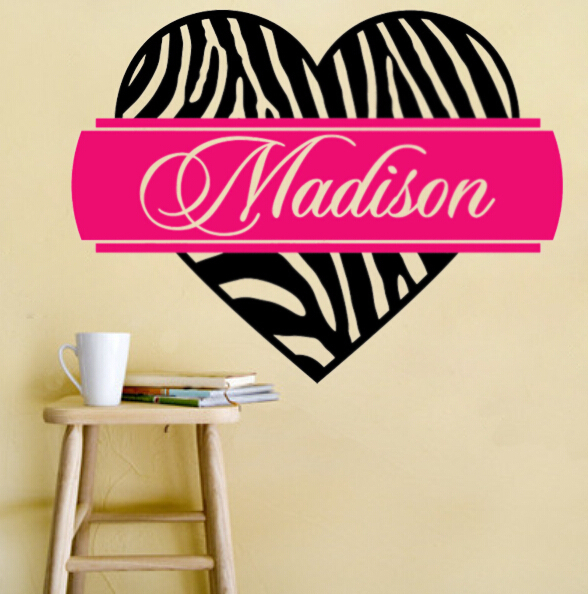 Custom name personalized zebra print heart banner strip vinyl wall custom name personalized zebra print heart banner strip vinyl wall sticker adhesive decal wedding decoration girls junglespirit