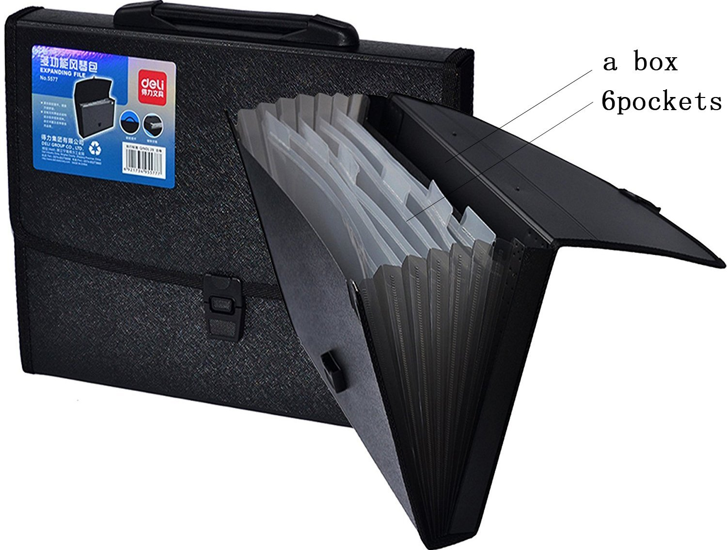 Deli 7 Pockets with A File Box,A4 and Letter Size Expanding Accordion File Folder with Buckle Closure and Flexible Handle 40D557
