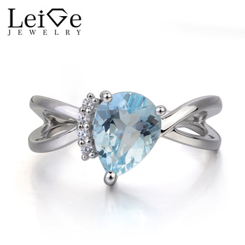 Leige Jewelry Natural Aquamarine Ring Anniversary Ring March Birthstone Pear Cut Blue Gemstone 925 Sterling Silver Ring for Her